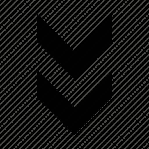 arrow, chevron, double, fat icon