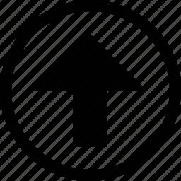 arrow, big, circle, straight icon