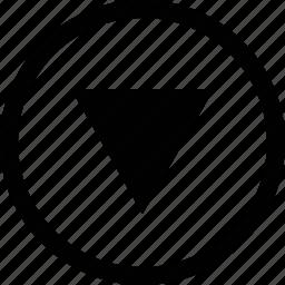 arrow, big, circle, triangle icon