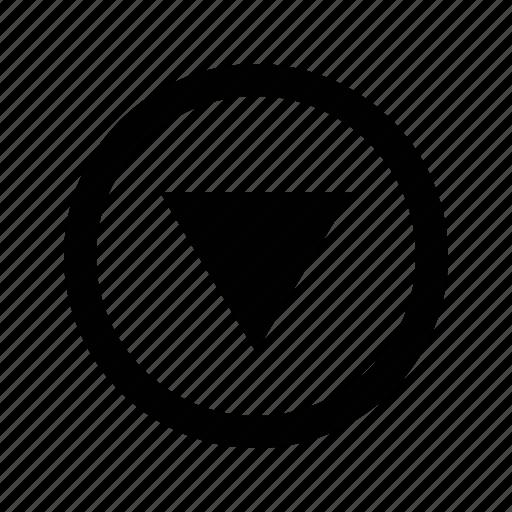 arrow, circle, medium, triangle icon