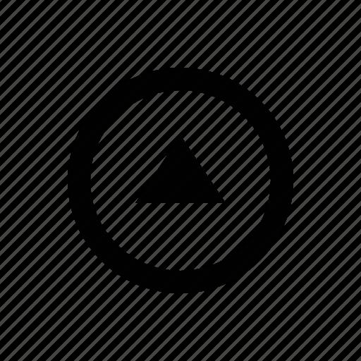 arrow, circle, triangle icon