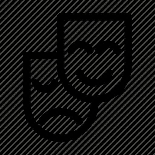 art, face, happy, mask, sad icon
