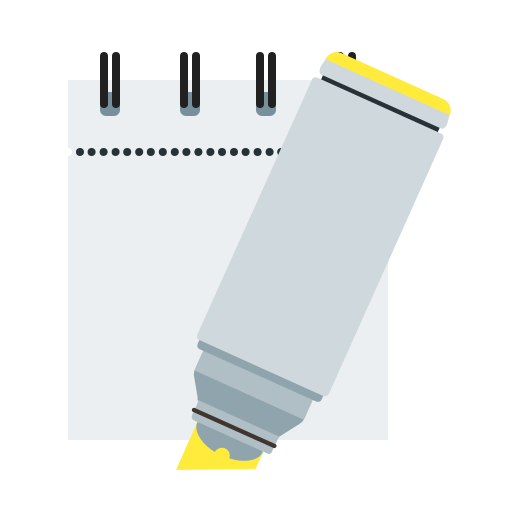 marker, notepad, yellow icon