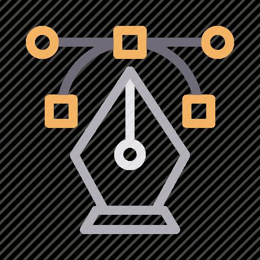 bezier, curve, design, illustrator, vector icon
