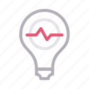 beats, bulb, creative, idea, pulses icon