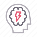 creative, head, idea, mind, power icon