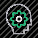 brain, creative, head, mind, setting icon