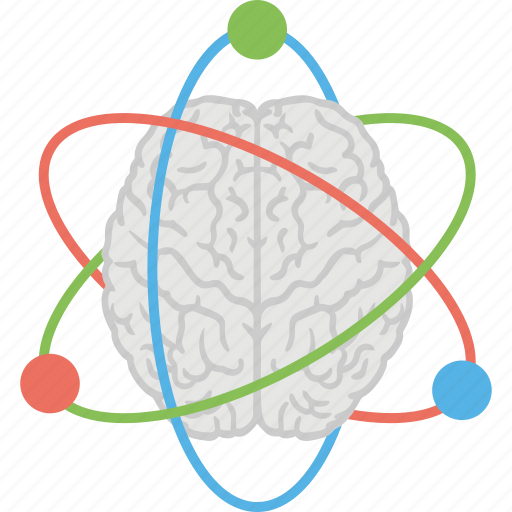 artificial intelligence, atom orbits, brain power, human brain, scientific thoughts icon