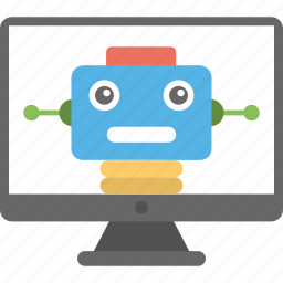 computer controlled robot, computerized robot, pc controlled robot, robot, robotic system icon