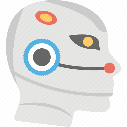 bionic man, humanoid robot face, mechanical man, robot, robot technology icon