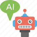 ai robot, artificial conversational entity, artificial intelligence, chatbot, robot icon