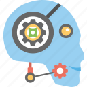 artificial intelligence, robot customer representative, robot customer service, robotic chat support icon