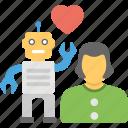 human robot friendship, human robot relationship, robot love, robot loves human, robotic emotion icon