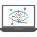 cyber eye, cyber monitoring, cyber security concept, cybernetics, mechanical eye icon