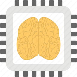 artificial intelligence, computer brain, computer chip, microprocessor with brain, motherboard icon