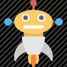 artificial intelligence, cartoon robot rocket, intelligence, robot-rocket, robotic technology icon