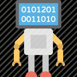 auto trading software, binary robot, binary signal, cartoon robot, technology tool icon