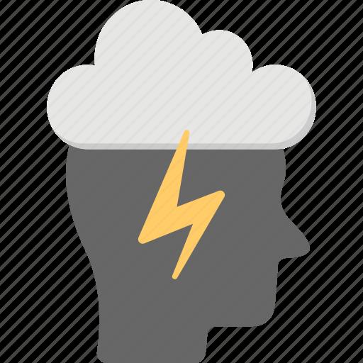 brain and lightning, brain power, brain thunder sign, brainstorm, creative brain icon
