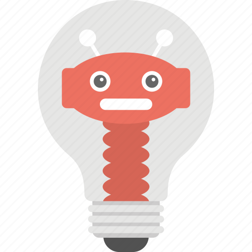 creative technology, electric innovation, light bulb robot, robot technology, robotic trends icon