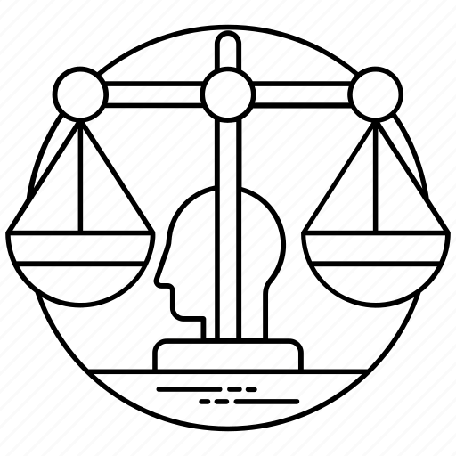 artificial intelligence ethics, law scale, machine ethics, roboethics, technology ethics icon