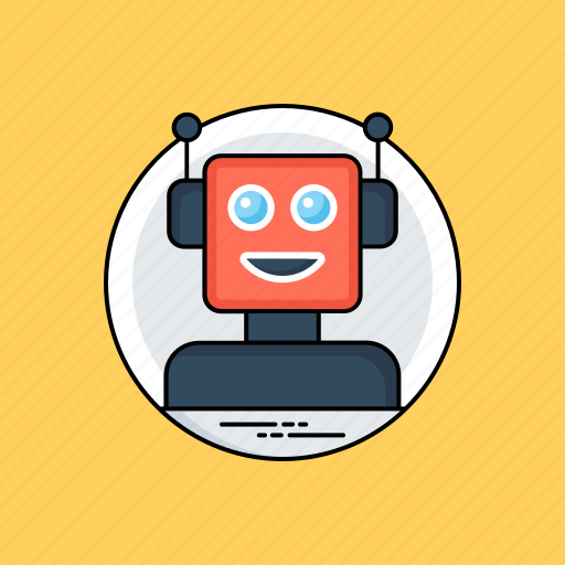 artificial intelligence robot, automation, humanoid face, robot face, superintelligence icon