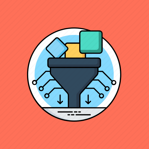 big data filter, data filter tunnel, data filtering, data mining, database management icon