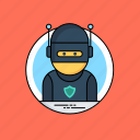 cybercriminal, hacker activity, hacktivist, phishing, ransomware icon