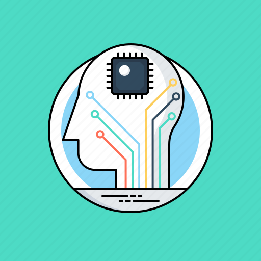 artificial intelligence, data intelligence, digital brain, information technology, machine learning icon
