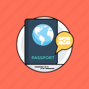 biometric passport, digital passport, digital travel identity, e-passport, microchip passport icon