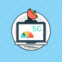 5g internet, 5th generation, data transmission rate, high speed internet, network bandwidth icon