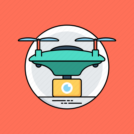 drone security system, drone surveillance system, observation with uav, quadcopter with camera, surveillance drone icon