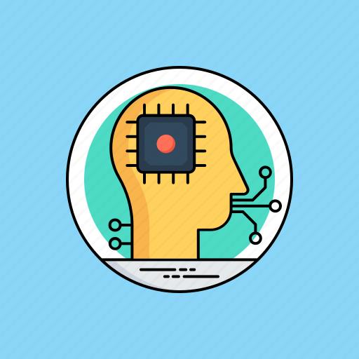 artificial intelligence, machine intelligence, microchip inside brain, software agent, superintelligence icon