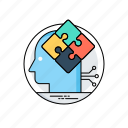 brain puzzle, brainstorming, completing idea, decision making, problem solving icon