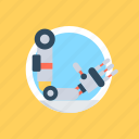 android robotic arm, cyber arm prosthesis, cybernetic, industrial robotic arm, robotic arm icon