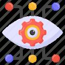 mechanical eye, cyber eye, cybersecurity, cyber monitoring, cybernetics icon