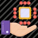 processor services, hardware services, microchip, service provider, cpu services icon