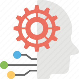 artificial intelligence, computer science, cyber management, humanoid, robotic brain icon