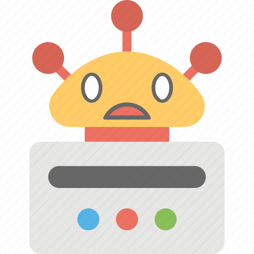 ai robot concept, chatbot, computerized robot, network robot, surprised robot icon