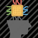 artificial intelligence, brain chip, computerized brain, cpu mind, techno human head icon