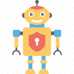 antivirus system, artificial intelligence, data security concept, robot firewall, robot security icon