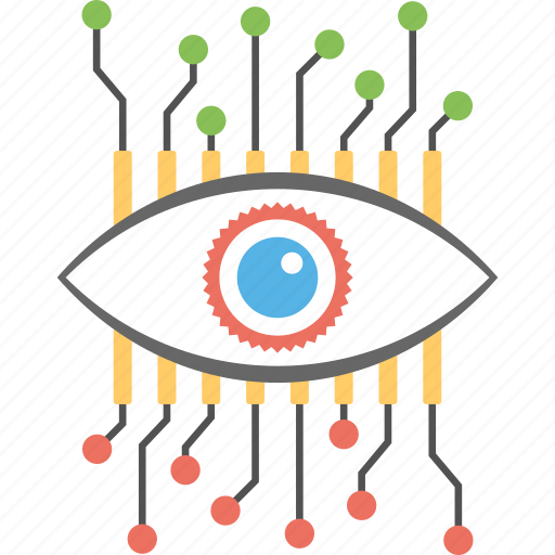 cyber eye, cyber monitoring, cyber security concept, cybernetic, electronic eye icon