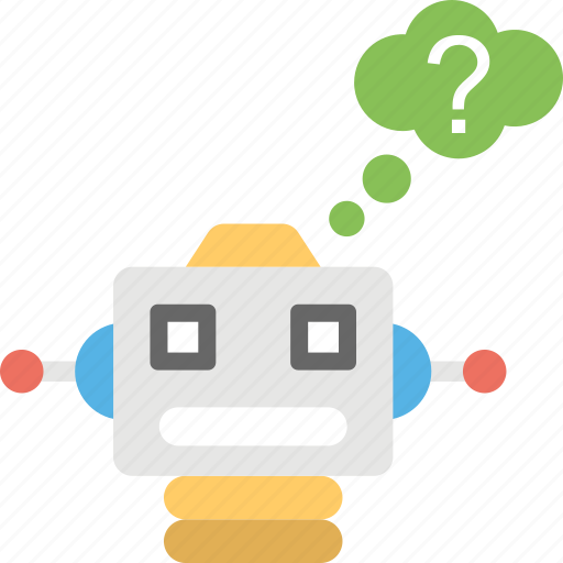 artificial intelligence, modern technology, question making, robot intelligence, solution provider icon