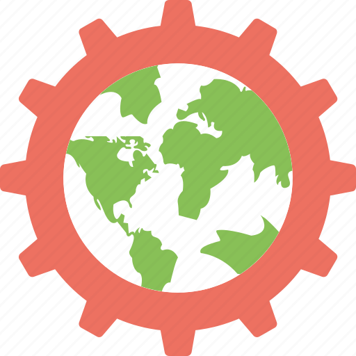 cartography, earth engineering, global technology, globe with gear, planet inside cogwheel icon