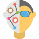 artificial intelligence, computer intelligence, cyborg face, humanoid, technology assistance icon