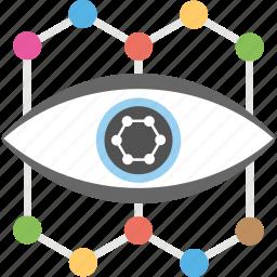 cyber eye, cyber monitoring, cyber security concept, cybernetics, mechanical eye icon