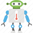 creative robot character, futuristic medical nanotechnology, robot technology, robot with thermometer, weather forecast robot icon