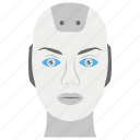 bionic human, robot face, robotics, advanced technology, artificial intelligence, robot head icon