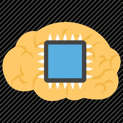 artificial intelligence, brain processor, brain simulation, computer interface brain, computerized brain icon