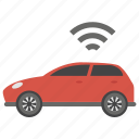 autonomous car, car with wifi, connected car, self driving car, smart car, wifi car icon