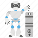 artificial intelligence, programming, robot system, robot technology, robot with pc icon